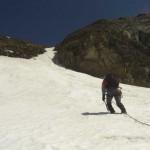 steile Firnrinne zur Bockkarscharte