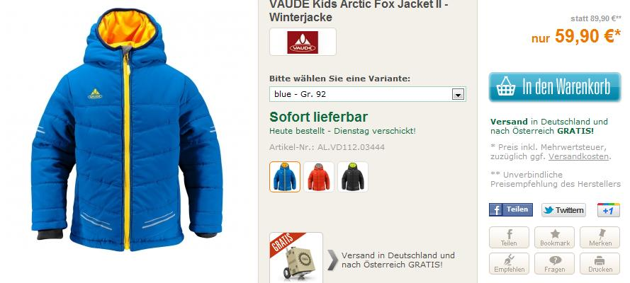 30 % Rabatt – Superware, wattierte Kinderjacke: VAUDE Arctic Fox Jacket II
