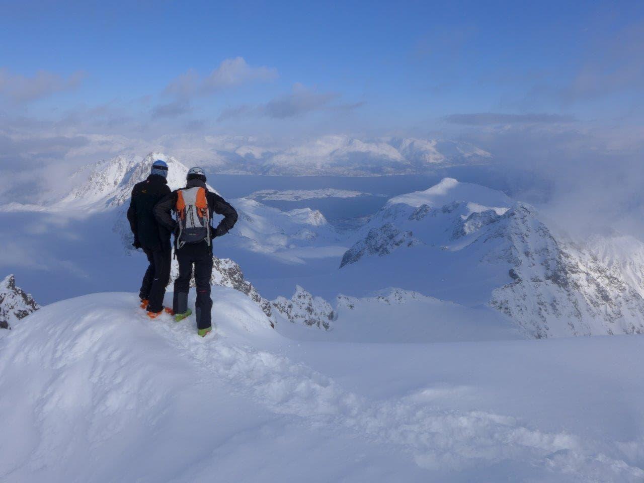 Skitouren Gipfel Ausblich Lyngen